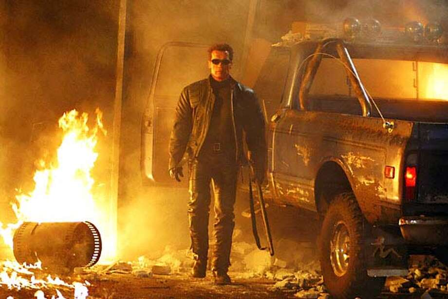 "TERMINATOR3  ARNOLD SCHWARZENEGGER stars in the futuristic action thriller ""Terminator 3: Rise of the Machines,"" distributed by Warner Bros. Pictures. PHOTOGRAPHS TO BE USED SOLELY FOR ADVERTISING, PROMOTION, PUBLICITY OR REVIEWS OF THIS SPECIFIC MOTION PICTURE AND TO REMAIN THE PROPERTY OF THE STUDIO. NOT FOR SALE OR REDISTRIBUTION ALSO RAN 8/8/03 CAT put photos in deadline,8/7,bwphotos, ARNOLD folder Photo: Photo: Robert Zuckerman"