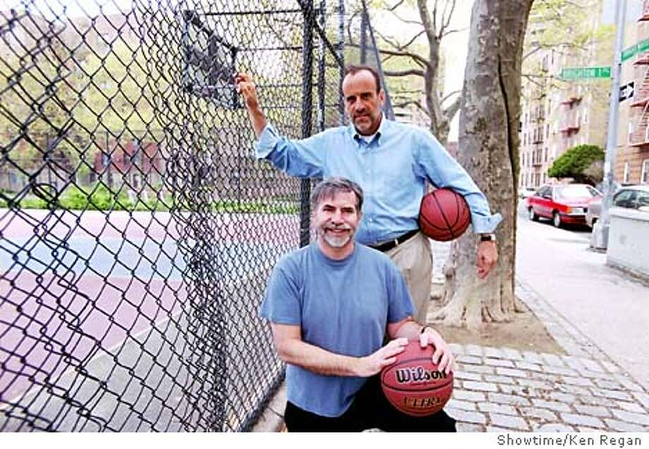 """Dan Klores, front, and Ron Berger pose outside 2nd Street Park at Brighton Beach in the Brooklyn borough of New York, in this undated publicity photo. First-time filmmakers Klores and Berger showcase """"The Boys of 2nd Street Park,"""" a documentary premiering on Showtime Sunday, Sept. 28, 2003 at 8 p.m. EDT. (AP Photo/Showtime, Ken Regan) Photo: KEN REGAN"""