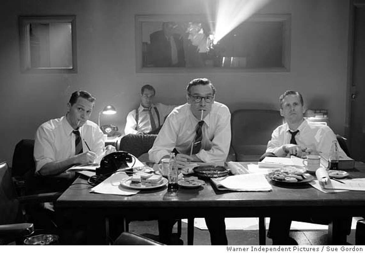.JPG Matt Ross as Eddie Scott, David Strathairn as Edward R. Murrow, Tate Donovan as Jesse Zousmer and Reed Diamond as John Aaron in director George Clooney�s Good Night, And Good Luck. a Warner Independent Pictures release. Photo Credit: Melinda Sue Gordon (c) 2005 Good Night Good Luck LLC. All Rights Reserved. Sue Gordon / Warner Independent Pictures