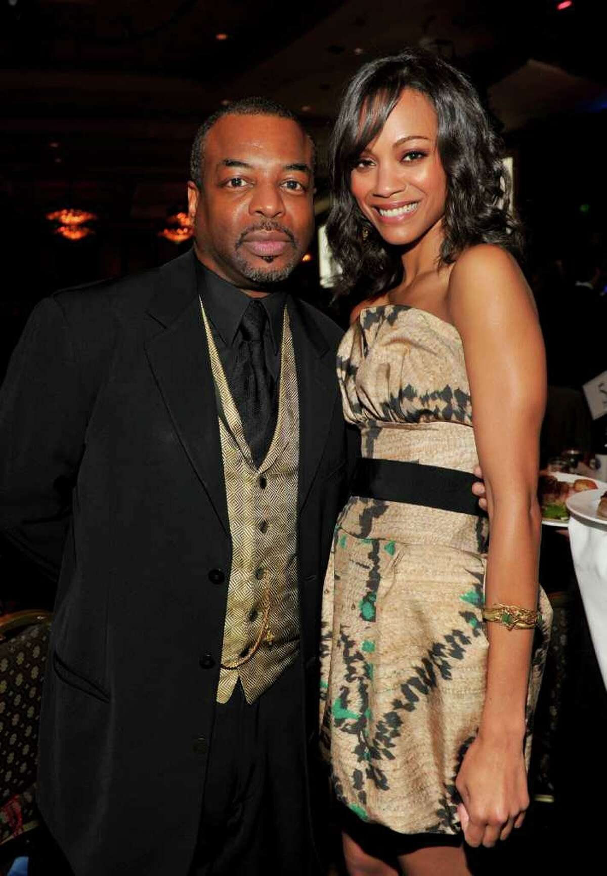CENTURY CITY, CA - JANUARY 30: Actor LeVar Burton and actress Zoe Saldana in the audience during the 62nd Annual Directors Guild Of America Awards at the Hyatt Regency Century Plaza on January 30, 2010 in Century City, California. (Photo by Alberto E. Rodriguez/Getty Images for DGA)