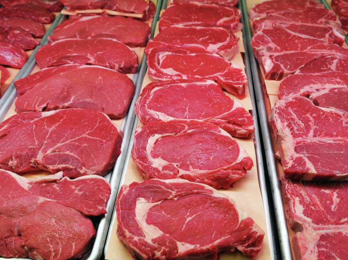 Prime grade steaks fill the counter at Sanders Meat Market in Ballston Spa Friday Feb. 10, 2012. (John Carl D'Annibale / Times Union)