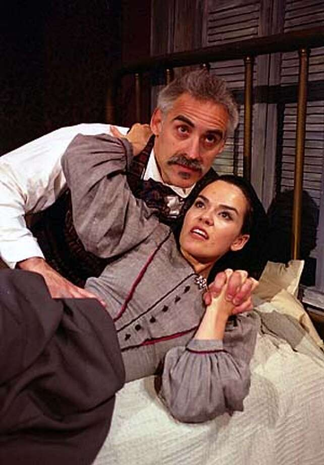 """For RAQUIN28, Datebook ; Adulterous lovers Laurent (Mark Elliot Wilson) and Th�r�se (Stephanie Gularte) get swept up by their passion in the Aurora Theatre Company's adaption of Emile Zola's """"Th�r�se Raquin"""" ; Inserted into mediagrid on 6/23/03 in . David Allen / HO Photo: David Allen"""