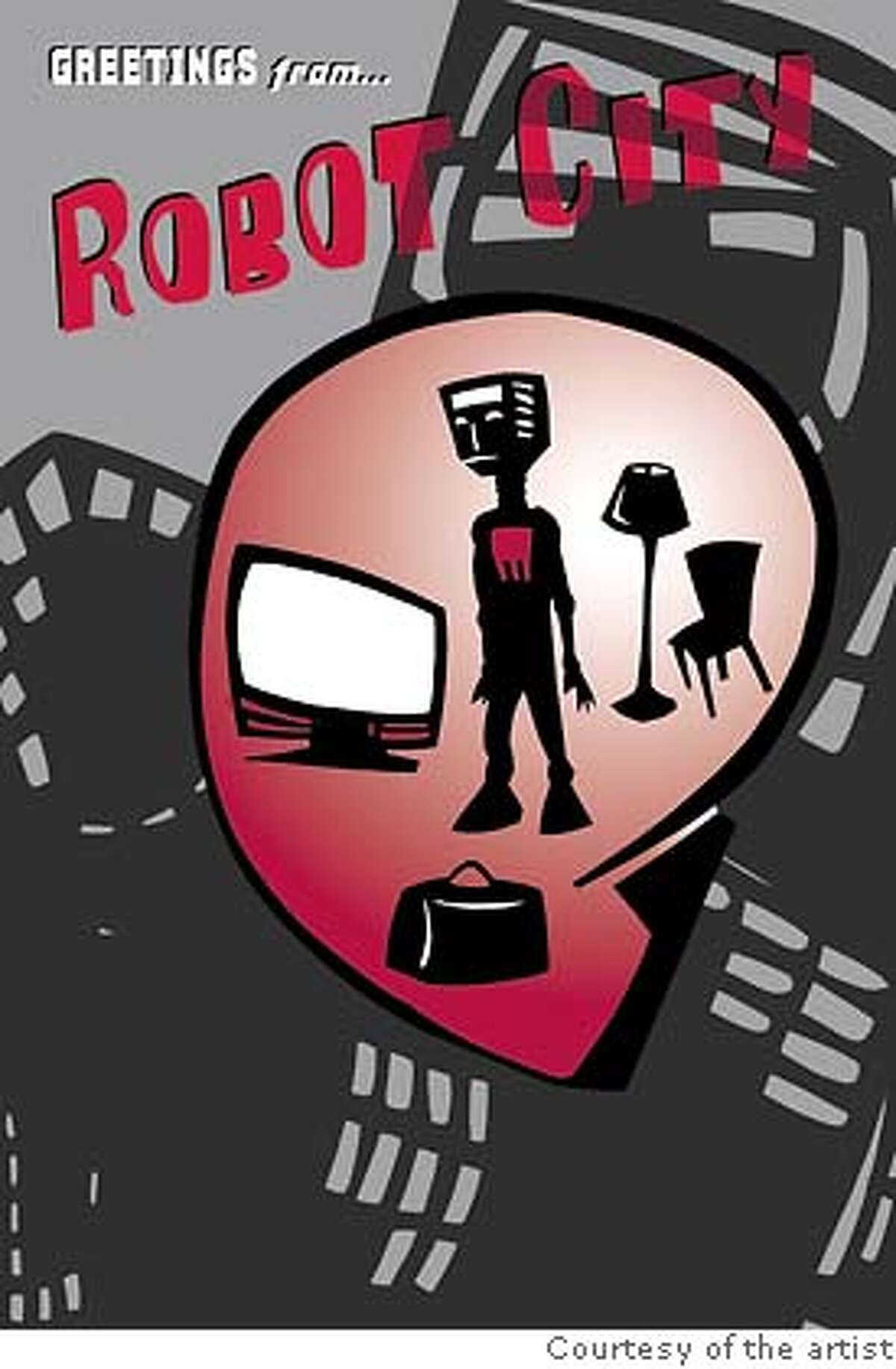 Attachment entitled Daughter Robot City should be captioned: Eliot K. Daughtry, Robot City, illustration courtesy of the artist.