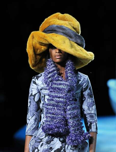 A models presents an outfit during the Marc Jacobs show February 13, 2012 at Mercedes Benz Fashion W