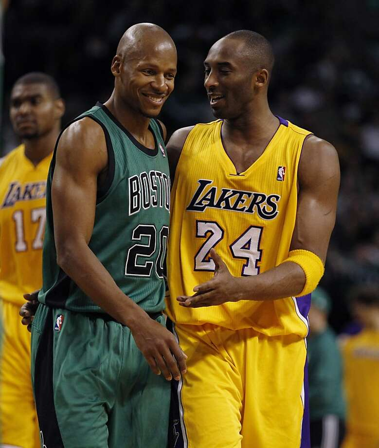 Los Angeles Lakers shooting guard Kobe Bryant (24) and Boston Celtics shooting guard Ray Allen (20) during the second half of an NBA basketball game in Boston, Thursday Feb. 9, 2012.  The Lakers beat the Celtics 88-87 in overtime. (AP Photo/Charles Krupa) Photo: Charles Krupa, Associated Press