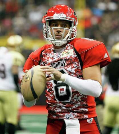 2012 Talons quarterback Aaron Garcia when he played for the Jacksonville Sharks in 2011. Photo: Courtesy Photo