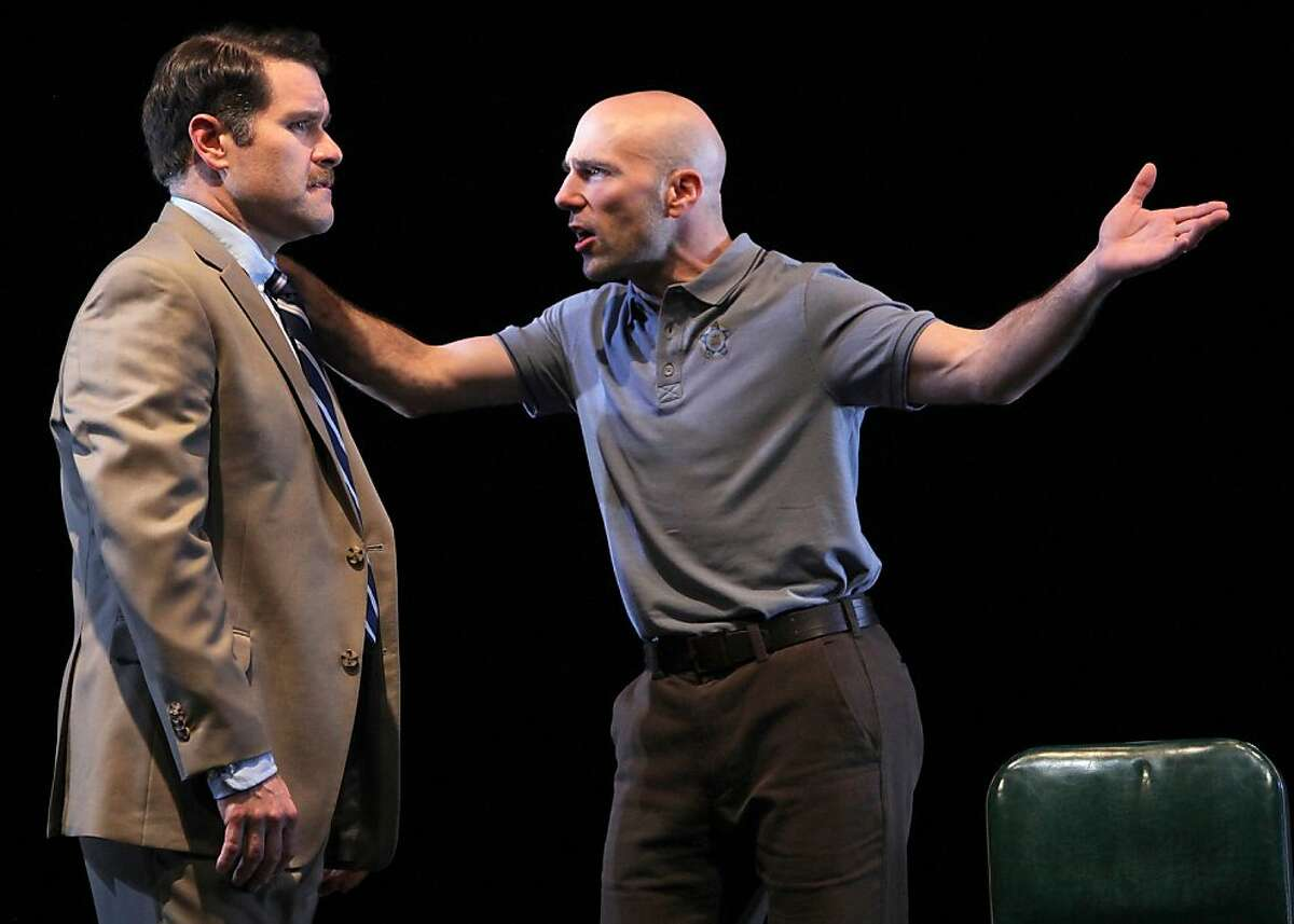 """Kevin Rolston (left) is Joey and Khris Lewin is Denny, two talkative Chicago cops on a downward spiral in the West Coast premiere of Keith Huff's """"A Steady Rain"""" at Marin Theatre Company. Photo by Ed Smith"""