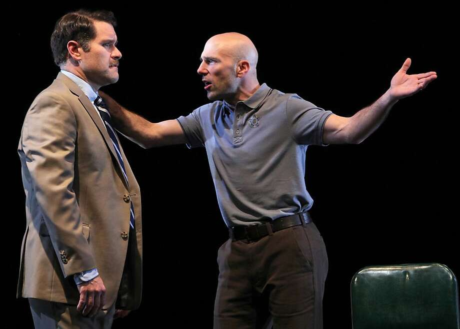 """Kevin Rolston (left) is Joey and Khris Lewin is Denny, two talkative Chicago cops on a downward spiral in the West Coast premiere of Keith Huff's """"A Steady Rain""""  at Marin Theatre Company. Photo by Ed Smith Photo: Ed Smith"""