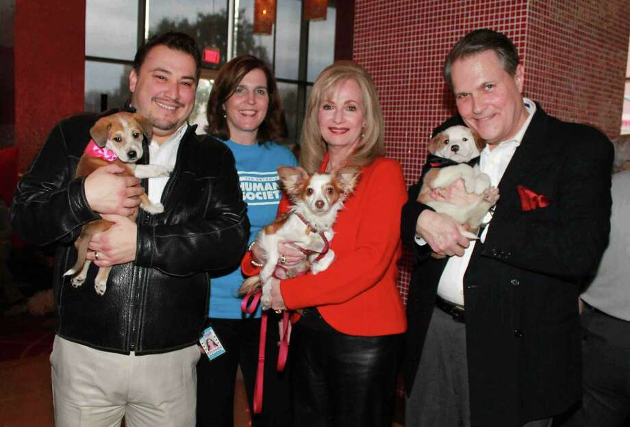 Cleto Rodriguez, from left, Rhonda Falcon, Elizabeth Netting and husband, Tom Netting, cuddle puppies at the San Antonio Humane Society's Must Love Dogs adoption party. Photo by San Antonio Humane Society Photo: SAN ANTONIO HUMANE SOCIETY