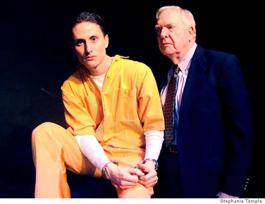 "(L to R): Elias Escobedo and John Hutchinson play Timothy McVeigh and Gore Vidal in ""Terre Haute"" written by Edmund White.  Credit: Stephanie Temple  Ran on: 04-10-2007  Elias Escobedo (left) and John Hutchinson play characters based on Timothy McVeigh and Gore Vidal in &quo;Terre Haute.&quo; Photo: Stephanie Temple"