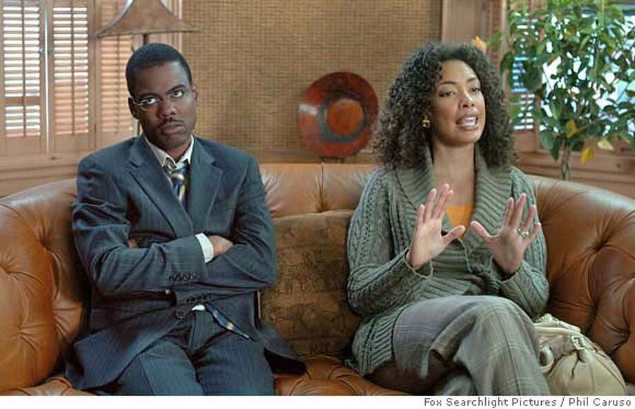 "In this photo provided by Fox Searchlight Pictures, Chris Rock and Gina Torres star in ""I Think I Love My Wife."" (AP Photo/Fox Searchlight Pictures/Phil Caruso)  Ran on: 03-15-2007  Chris Rock is mighty tempted in &quo;I Think I Love My Wife.&quo;  Ran on: 03-15-2007 Ran on: 03-15-2007 Ran on: 03-15-2007 NO SALES. NO MAGAZINES. Photo: Phil Caruso"