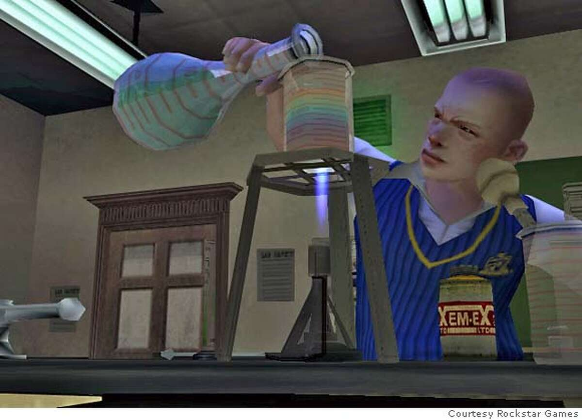 """Screenshot from Rockstar Games' """"Bully"""" showing protagonist Jimmy with a chemistry set. Courtesy Rockstar Games"""