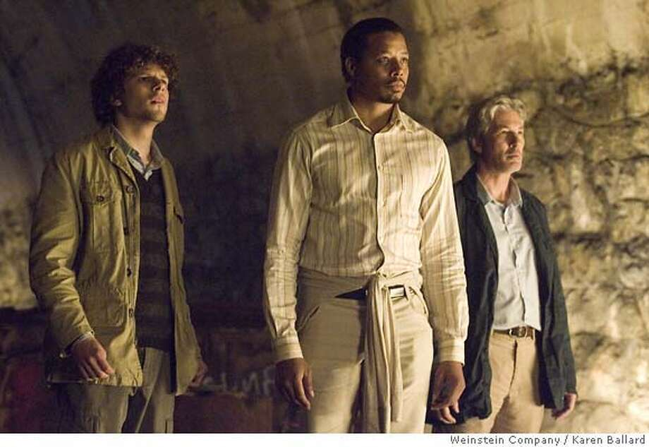 Jesse Eisenberg, Terrence Howard and Richard Gere star in Richard Shepard's The Hunting Party.  Ran on: 09-09-2007  Jesse Eisenberg (from left), Terrence Howard and Richard Gere play journalists looking for a war criminal in writer-director Richard Shepard's geopolitical comedy &quo;The Hunting Party.&quo; Photo: Karen Ballard 2007 Weinstein Co.