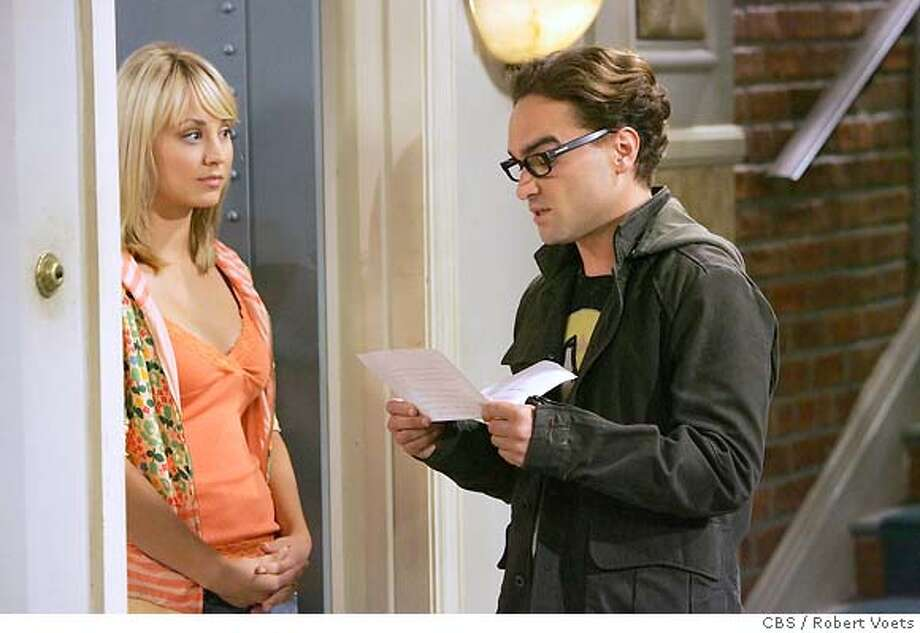"""The Big Bran Hypothesis"" -- Leonard (Johnny Galecki, right) volunteers to sign for a package, hoping to make a good impression on Penny (Kaley Cuoco, left). When he enlists the help of his obsessive-compulsive roommate, Sheldon, his attempt at chivalry goes horribly awry, on THE BIG BANG THEORY, Mon., October 1(8:30-9:00 ET/PT).  Photo: Robert Voets/CBS  ©2007 CBS Broadcasting Inc. All Rights Reserved. Photo: ROBERT VOETS"