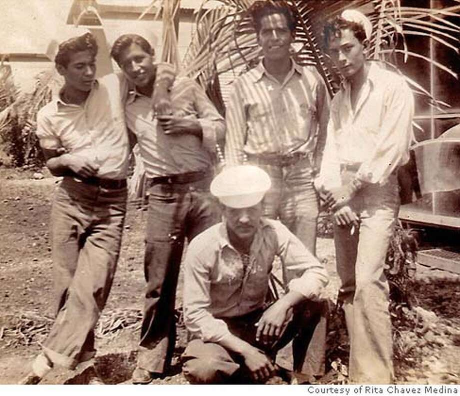 KQED21_002.JPG The War: Soldados  Cesar Chavez (second from left) and other Latino sailors off duty for the moment, at the US Naval base in Guam, 1945. Photo credit:  personal collection of Rita Chavez Medina Photo: Handout