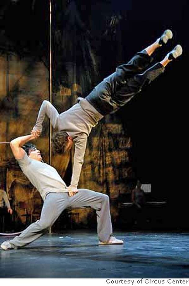 Francisco Cruz balancing his brother, Raphael Cruz Photo courtesy: Circus Center �7 Fingers' Circus Troupe with the U.S. Premiere of TRACES featuring H�lo�se Bourgeois, Francisco Cruz, Raphael Cruz, Brad Henderson and Will Underwood Palace of Fine Arts Theatre, San Francisco December 13, 2006 � January 1, 2007 Photo: Photo Courtesy: Circus Center