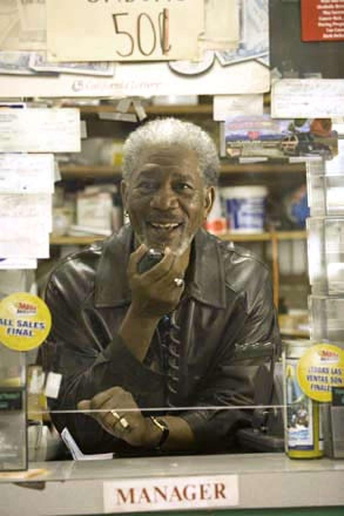 Morgan Freeman and director Brad Silberling, 10 ITEMS OR LESS is an intimately-scaled, two-character comedy in which Freeman plays a major movie star whose pickiness with his projects accounts for a lengthy absence from the screen.