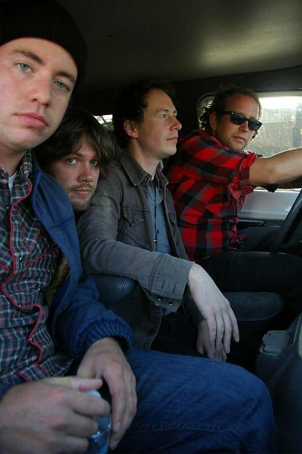"""Trainwreck Riders (from left): Steve Kerwin, Shawn """"Boof"""" Wyman, Andrew Kerwin, Pete Frauenfelder. Photo: Beau Wiley"""