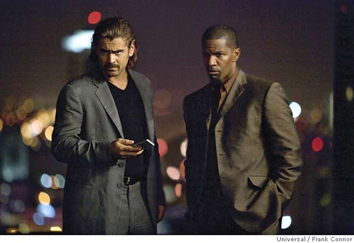 COLIN FARRELL as Detective Sonny Crockett and JAMIE FOXX as Detective Ricardo Tubbs in ?Miami Vice?, the feature film crime drama that liberates what is adult, dangerous and alluring about working deeply undercover. ?Miami Vice? opens on July 28, 2006.