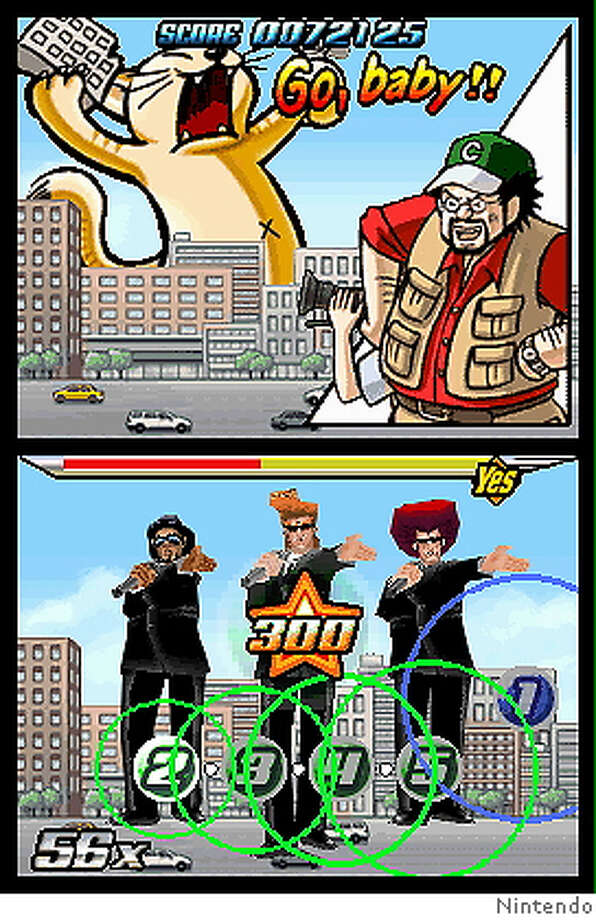 Screenshot from Elite Beat Agents (by Nintendo for the Nintendo DS), a rhythm action game where you have to hit numbered targets in time to pop songs set to fun and nonsensical plots. Photo: Ho