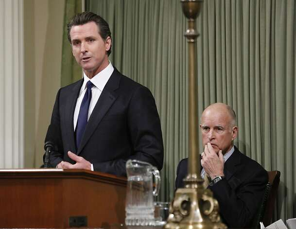 Lt. Gov. Gavin Newsom, left, introduces Gov. Jerry Brown who gave  the annual State of the State address before a joint session of the Legislature at the Capitol in Sacramento, Calif., Wednesday, Jan. 18, 2012.   Brown urged lawmakers to help make California great again by taking on major initiatives and funding schools.(AP Photo/Rich Pedroncelli) Photo: Rich Pedroncelli, Associated Press