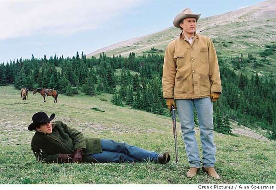 Part of the cast of the film 'Brokeback Mountain', actors Heath Ledger (L) and Jake Gyllenhaal are pictured in a scene from their drama film 'Brokeback Mountain' in this undated publicity photograph. The cast which includes Michelle Williams and Anne Hathaway received a Screen Actors Guild Award nomination for Outstanding Performance by a Cast in a Motion Picture, as nominations were announced at a news conference in West Hollywood January 5, 2006. The Screen Actors Guild Awards will be presented in Los Angeles January 29, 2006. NO ARCHIVES REUTERS/Alan Spearman/Crunk Pictures/Handout Ran on: 01-13-2006 Ran on: 01-13-2006 Ran on: 01-13-2006 Ran on: 01-13-2006 Ran on: 01-15-2006  Heath Ledger (left) and Jake Gyllenhaal in &quo;Brokeback Mountain,&quo; which may cause an &quo;ick&quo; factor.  Crunk Pictures / Alan Spearman  0 Photo: HO