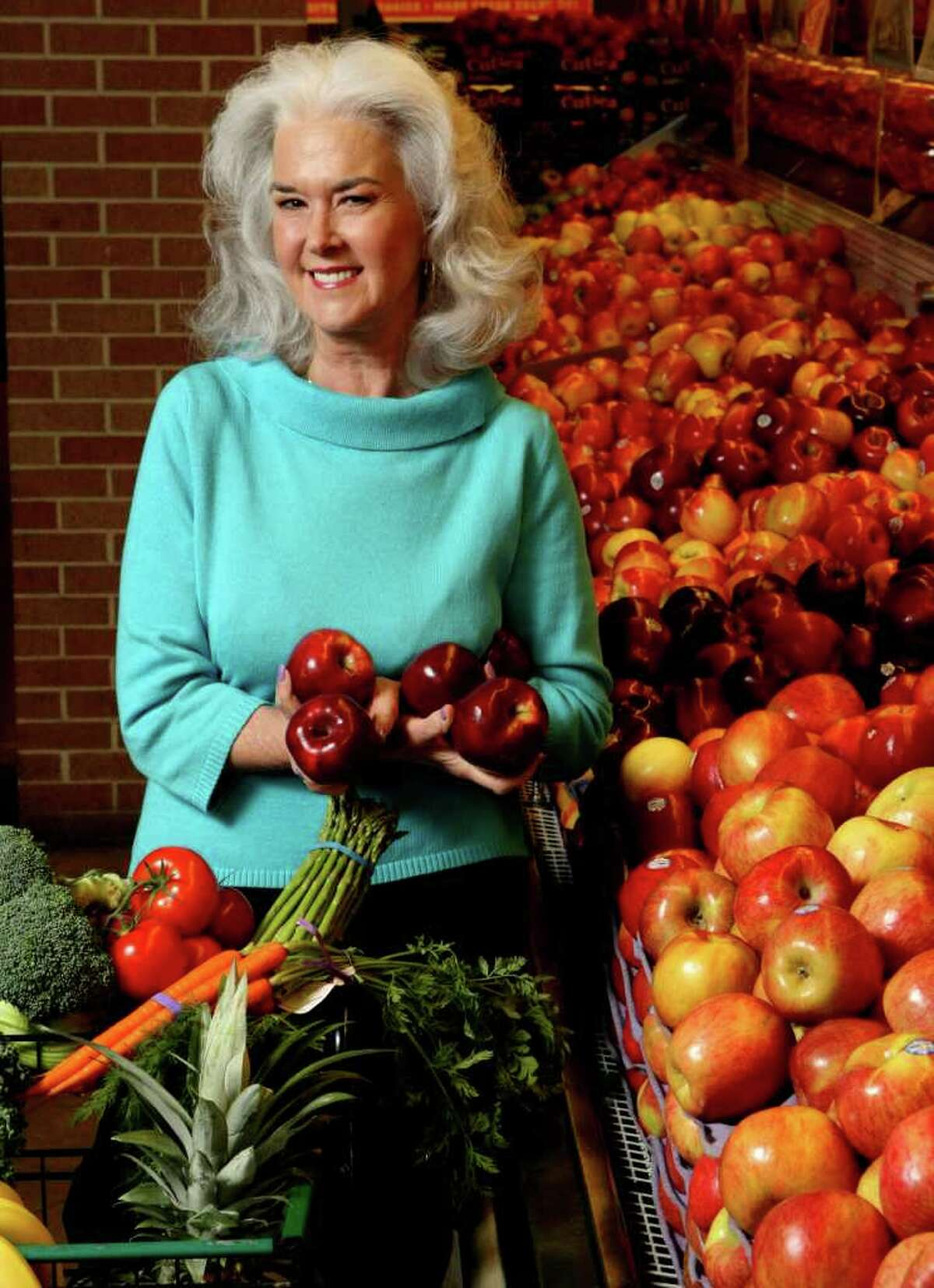 TASTE: Heloise been a vegetarian since the 1970s. For a story on her vegetarian lifestyle--what she eats at home and at restaurants, etc, photographed at Central Market on Tuesday Feb. 7, 2012. Helen L. Montoya/San Antonio Express-News