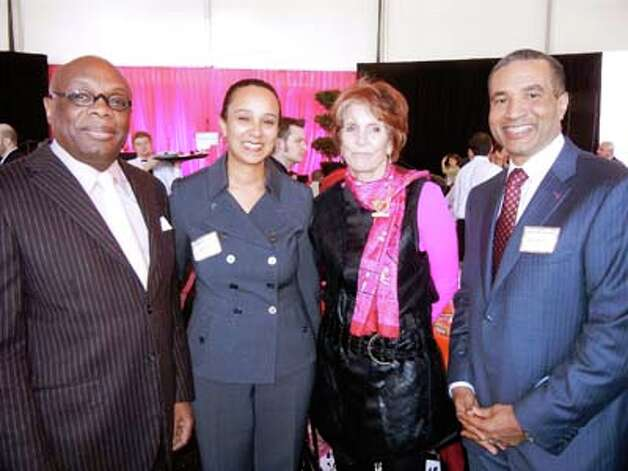 Da Mayor Willie Brown (left) with City Administrator Naomi Kelly, Heroes & Hearts lunch co-founder Judy Guggenhime and honoree Harlan Kelly, Jr. (Catherine Bigelow)