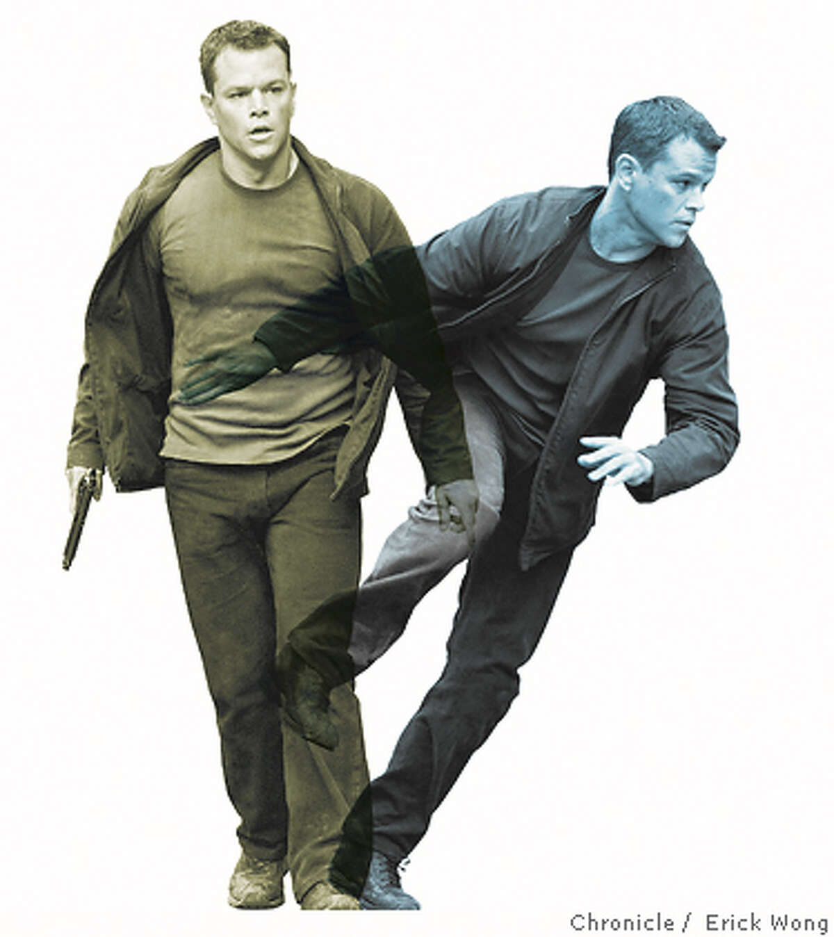 """Matt Damon returns as the title character in """"The Bourne Ultimatum."""" Universal Pictures photos by Jasin Boland. Chronicle photo illustration by Erick Wong"""