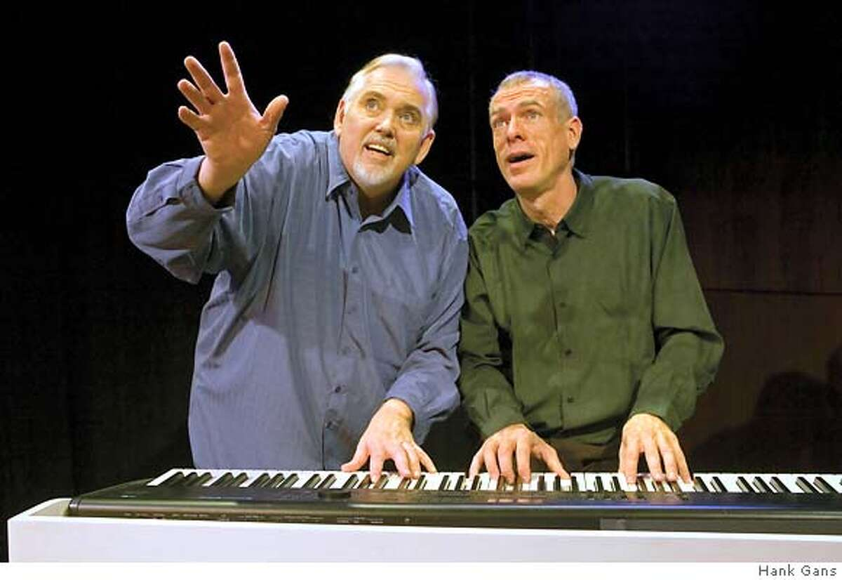 Jim Brochu is pictured Left and Steve Schalchlin is pictured Right. If you include a photo credit, they are as follows: Picture with piano----Hank Gans... and Ed Krieger for the other.