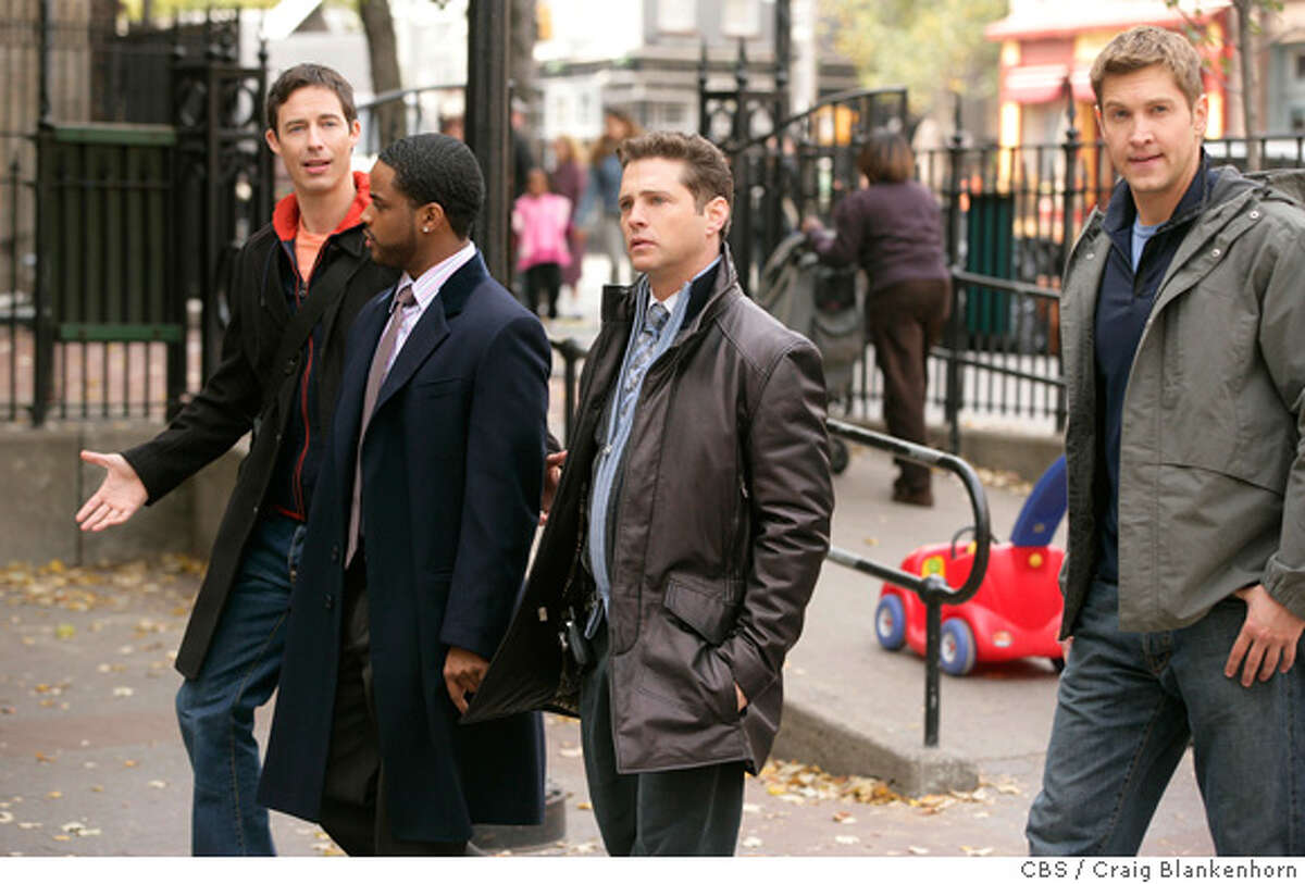 """caption: """"Nice Package"""" -- Tom Cavanagh, Larenz Tate, Jason Priestley and Christopher Wiehl star in Love Monkey, scheduled to air on the CBS Television Network. Photo: Craig Blankenhorn/CBS CBS / Craig Blankenhorn �2006 CBS Broadcasting Inc. All Rights Reserved copyright: MANDATORY CREDIT; ; NO ARCHIVE; NORTH AMERICAN USE ONLY"""