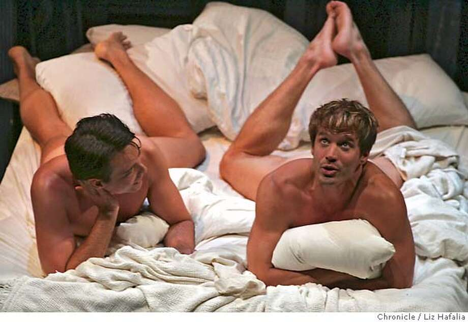 """.JPG First preview for """"2 Boys in a Bed on a Cold Winter's Eve"""" at Lorraine Hansberry Theatre, starring Scott Douglas Cunningham (left) and Paul Lekakis (right). Liz Hafalia/The Chronicle/San Francisco/7/6/07  **Paul Lekakis, Scott Douglas Cunningham cq �2007, San Francisco Chronicle/ Liz Hafalia  MANDATORY CREDIT FOR PHOTOG AND SAN FRANCISCO CHRONICLE. NO SALES- MAGS OUT. Photo: Liz Hafalia"""