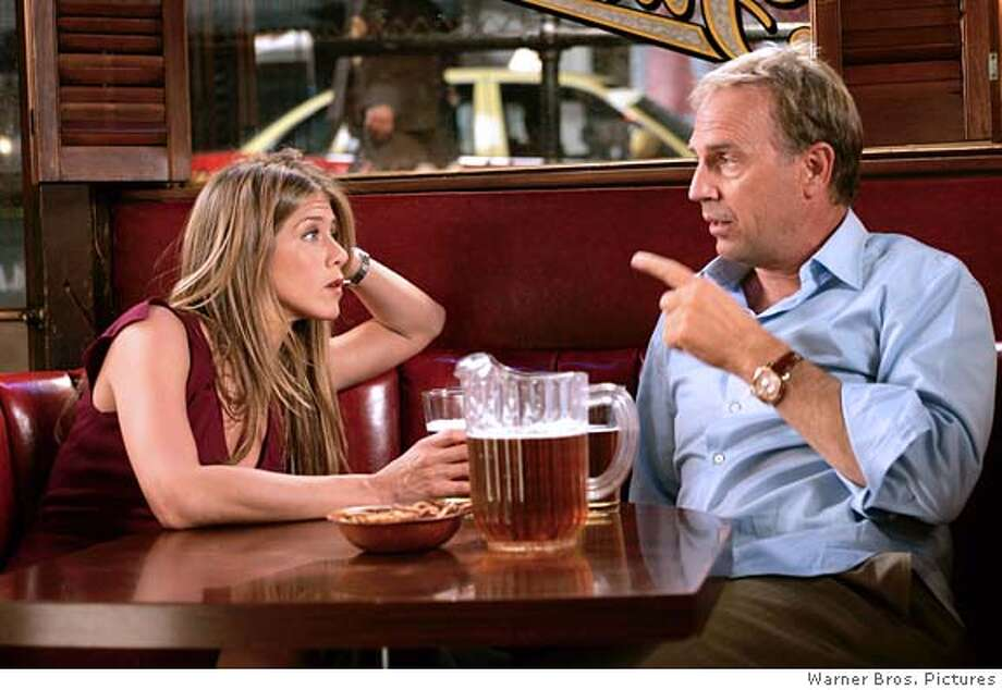 RUMOR24 JENNIFER ANISTON stars as Sarah and KEVIN COSTNER stars as Beau in Warner Bros. Pictures� and Village Roadshow Pictures� romantic comedy �Rumor Has It�,� also starring Shirley MacLaine and Mark Ruffalo. Photo: X