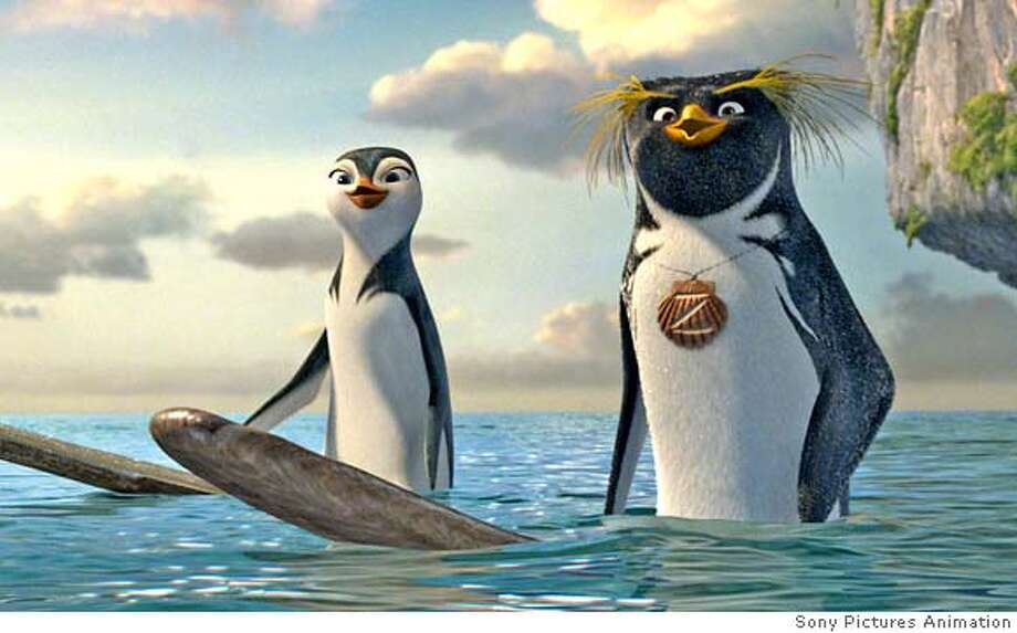 Lani (voiced by Zooey Deschanel, left) and Cody Maverick (voiced by Shia LaBeouf, right) in Columbia Pictures/Sony Pictures Animation's Surf's Up. **ALL IMAGES ARE PROPERTY OF SONY PICTURES ENTERTAINMENT INC. FOR PROMOTIONAL USE ONLY. SALE, DUPLICATION OR TRANSFER OF THIS MATERIAL IS STRICTLY PROHIBITED. Photo: Courtesy Sony Pictures Animation
