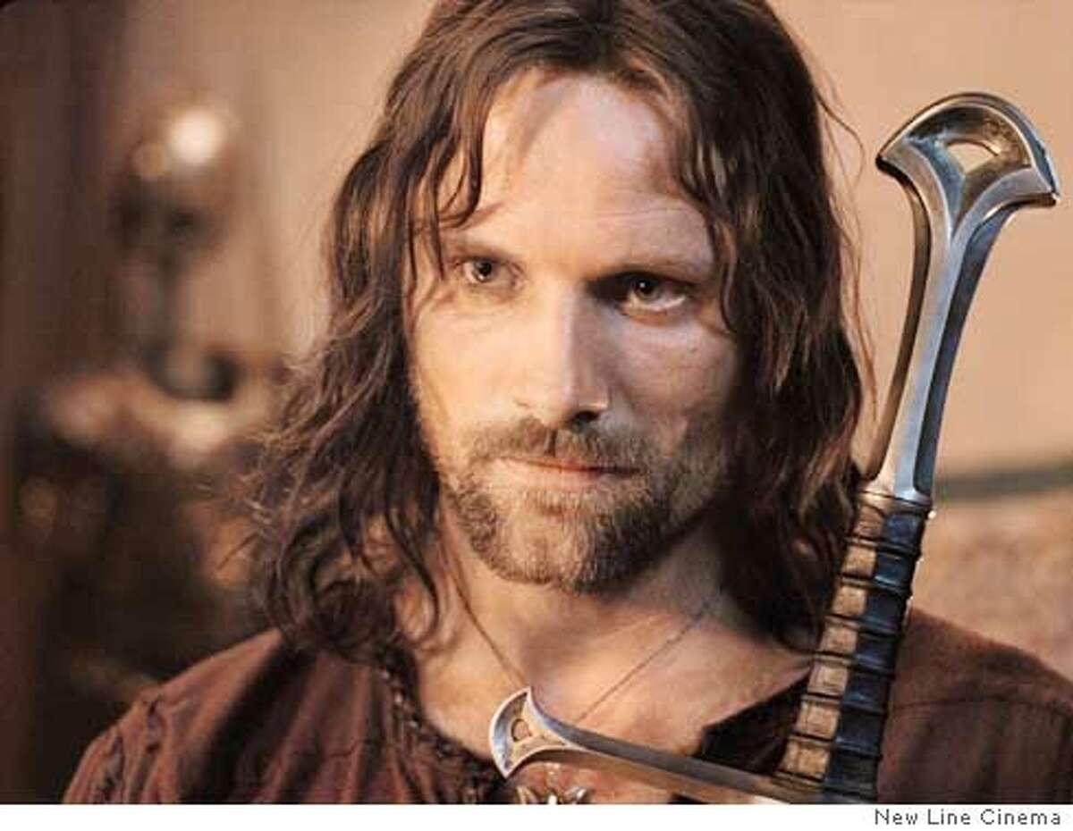"""Actor Viggo Mortensen is shown in the role of Aragorn, in this undated production still from the """"Lord of the Rings: The Return of the King."""" Aragorn is a reluctant hero who helps defeat the ancient evil of Sauron in New Line Cinema's """"Lord of the Rings"""" trilogy. (AP Photo/New Line Cinema Productions) ,UNDATED Datebook#Datebook#Chronicle#12/16/03#ALL#3star#D1#0421525201"""