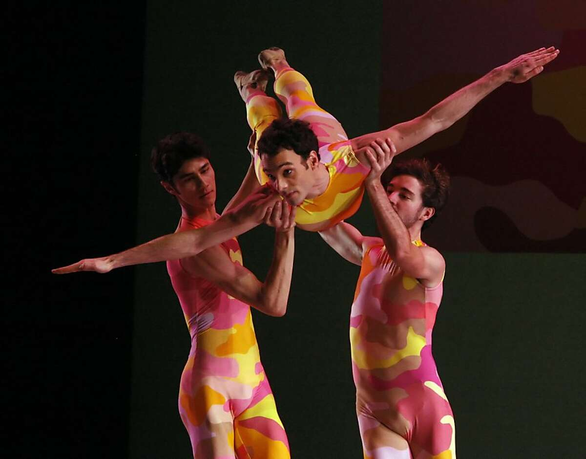 Jaime Garcia Castilla (center), Diego Cruz (right) and Sean Bennett (left) in Beaux - the second part of San Francisco Ballet Opening Night Performance on February 14, 2012 at 8 pm. The Ballet opens with Chroma and ends with Number Nine©.
