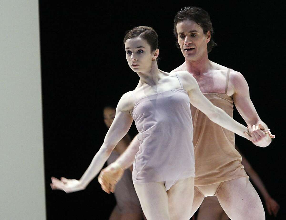 Maria Kochetkova(left) and Pascal Molat in the in Chroma - the first part of San Francisco Ballet Opening Night Performance. The Ballet consists of 3 acts - opens with Chroma followed by Beaux and Number Nine© on February 14, 2012 at 8 pm.