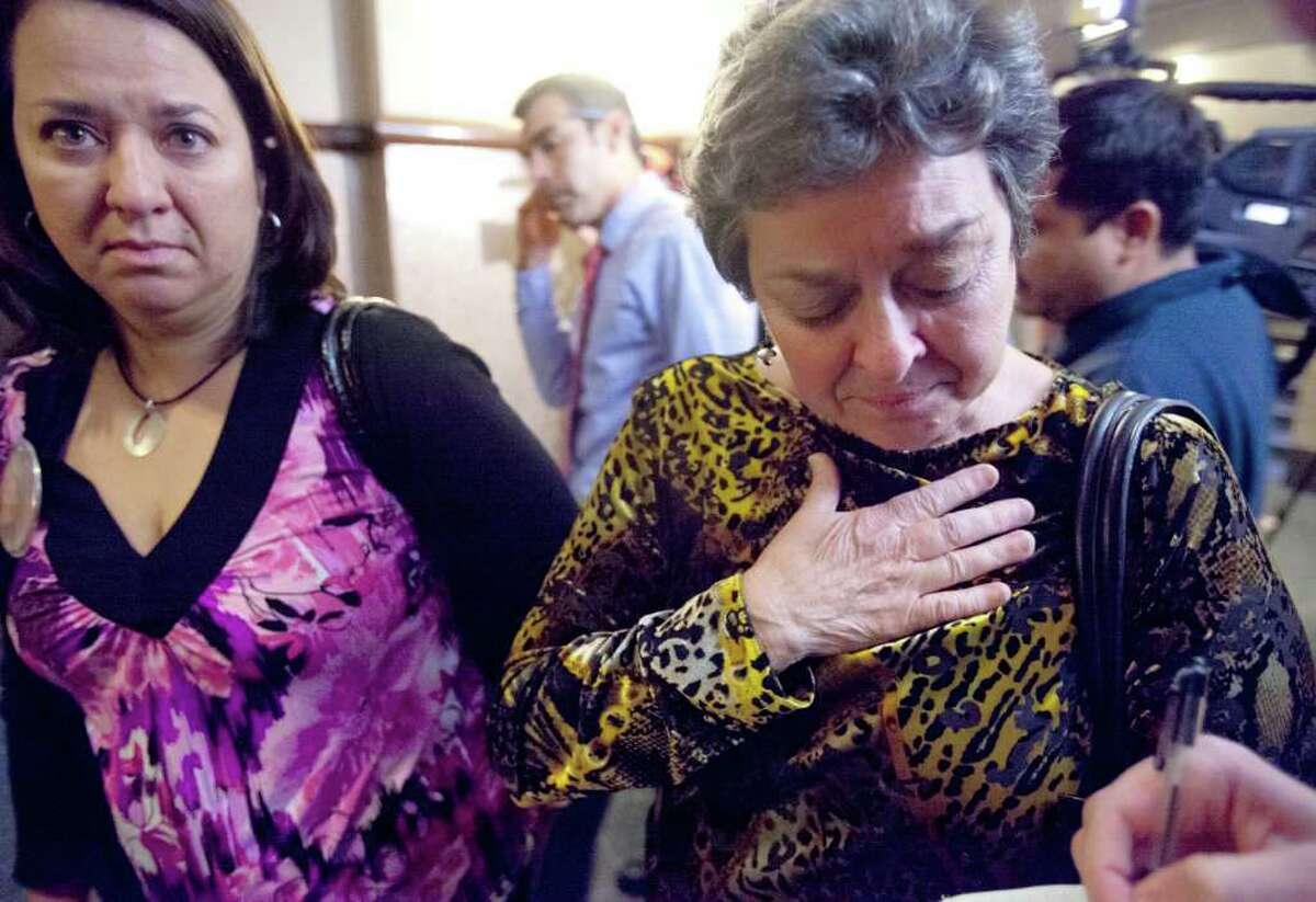 Erica Smith's great aunt Carol Smith, right, talks Wednesday, Feb. 15, 2012 to a reporter outside the 437th District Court after a jury sentenced Jenny Ann Ybarra to two years in prison for her 2007 intoxication manslaughter of Erica Nicole Smith.