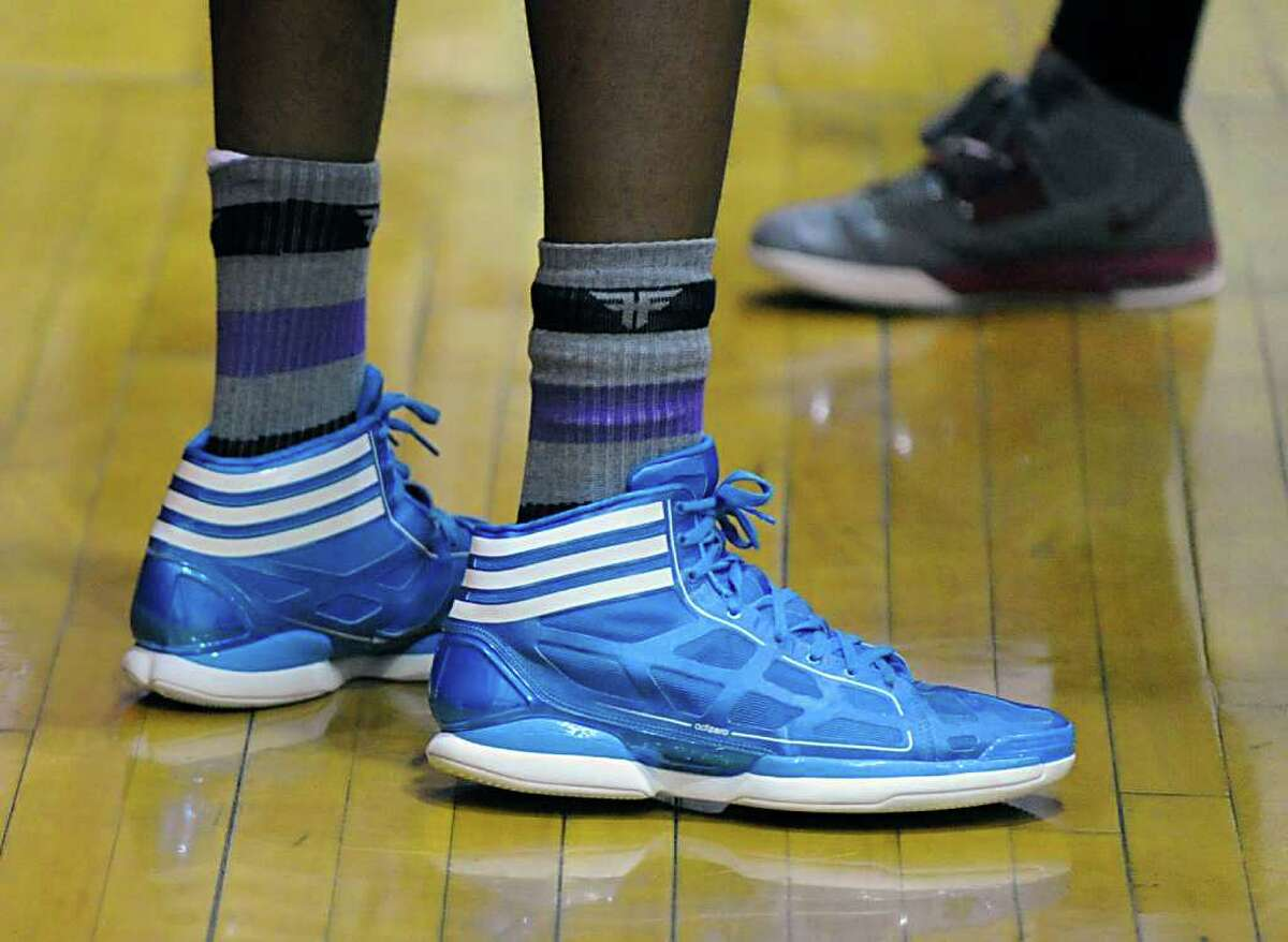 The shoes of Timajh Parker of St. Joe's during boys high school basketball game between Greenwich High School and St. Joe's of Trumbull at Greenwich, Wednesday, Feb. 15, 2012.