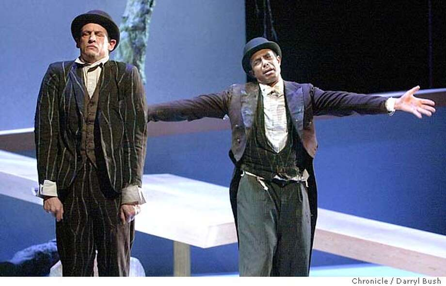 "Peter Frechette as Vladimir, left, and Gregory Wallace as Estragon, right, in ACT's ""Waiting For Godot."" (Note: These are the two lead actors according to ACT.) 10/16/03 in San Francisco. DARRYL BUSH / The Chronicle Photo: DARRYL BUSH"
