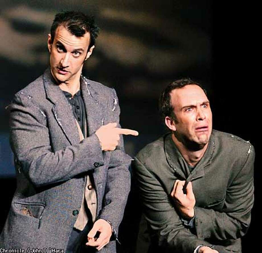 "Bronson Pinchot (left) and Christopher Burns, each with extensive stage and film credits, star in ""Stones in His Pockets"" at the Curran. Chronicle photo by John O'Hara"