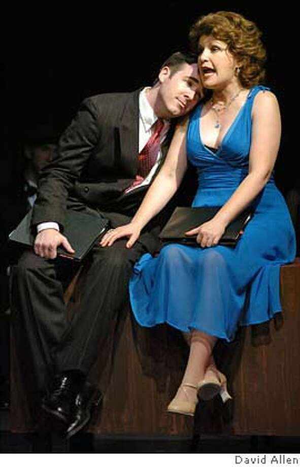"""Klea Blackhurst as """"Nails"""" O'Reilly Duquesne, and Steve Rhyne as  Bob Hale in 42nd St. Moon's production of Cole Porter's """"Red Hot & Blue!""""  Eureka Theatre Sept. 22 - Oct. 16. Photo: David Allen"""