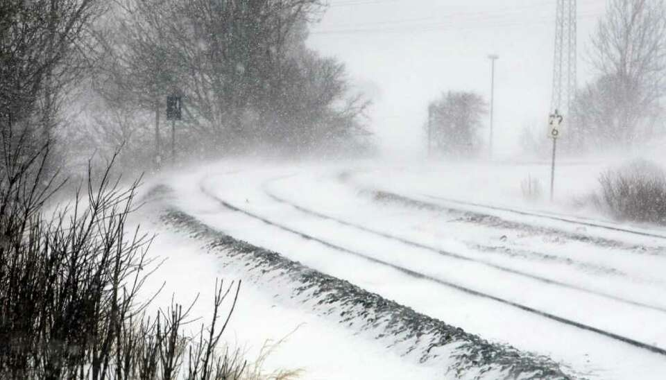 Railtracks are covered in snow on February 15, 2012 near Ruderatshofen, southern Germany. Southern p