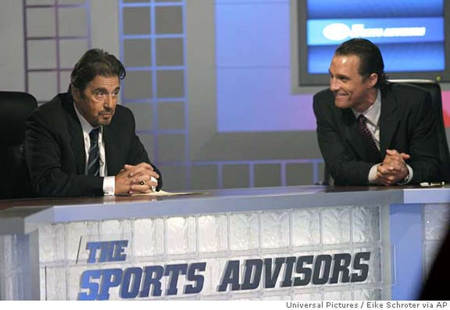 "In this photo provided by Universal Pictures, gambling impresario Walter Abrams (Al Pacino, left) and ex-football star Brandon Lang (Matthew McConaughey) make their predictions on Abraham's weekly television show in the high-stakes drama ""Two For the Money."" (AP Photo/Universal Pictures/ Eike Schroter) Photo: EIKE SCHROTER"