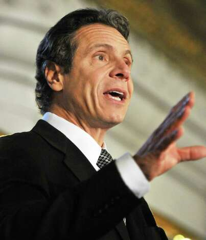 NYS Gov. Andrew Cuomo speaks during the announcement of a Capitol exhibit honoring prominent African-American New Yorkers in recognition of Black History at the Capitol Wednesday Feb. 15, 2012.   (John Carl D'Annibale / Times Union) Photo: John Carl D'Annibale / 00016444A
