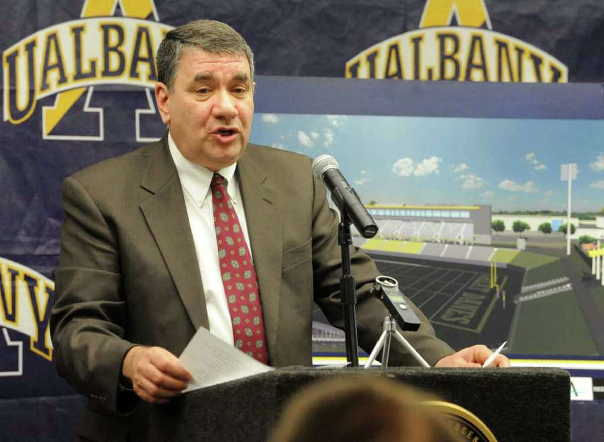 University at Albany President George Philip announces site of the New Athletic Field Complex at UAlbany on Wednesday, Feb. 15, 2012 in Albany, N.Y. (Lori Van Buren / Times Union)