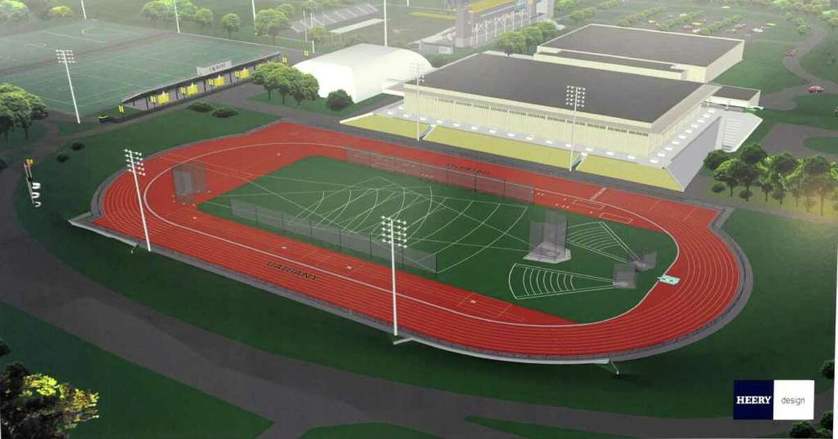 Rendering of the renovated track and field venue at a press conference where University at Albany President George Philip announced site of the New Athletic Field Complex, Wednesday, Feb. 15, 2012 in Albany, N.Y. The new track and field venue will meet NCAA Division I standards. (Lori Van Buren / Times Union)
