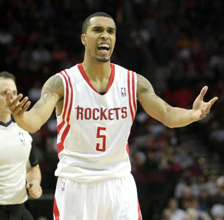 Feb. 15: Rockets 96, Thunder 95Houston Rockets shooting guard Courtney Lee (5) tries to argue a call against him with a referee. (Nick de la Torre / Houston Chronicle)