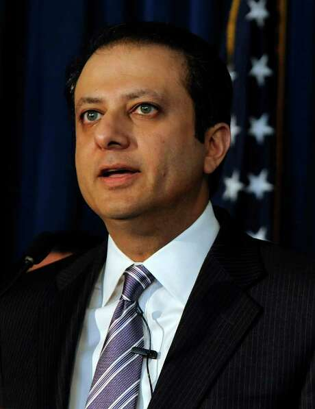 Preet Bharara, U.S. attorney for the Southern District of New York, speaks at a news conference to announce insider trading charges in New York, U.S., on Wednesday, Jan. 18, 2012. Seven people were charged in Manhattan federal court with counts including securities fraud and conspiracy as part of a five-year probe of insider trading at hedge funds by the FBI and the Justice Department. Photographer: Peter Foley/Bloomberg *** Local Caption *** Preet Bharara Photo: Peter Foley / © 2012 Bloomberg Finance LP