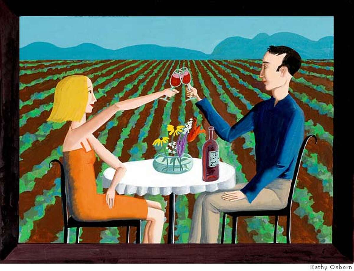 Illustration by Kathy Osborn for the opening of Top 100 Wines in Sunday Magazine, 12-03-06